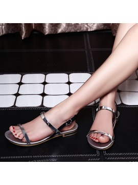 Metallic Open Toe Flat Sandals