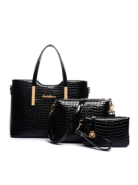 Chic Embossing Pure Color Womens Bag Set Three Bags
