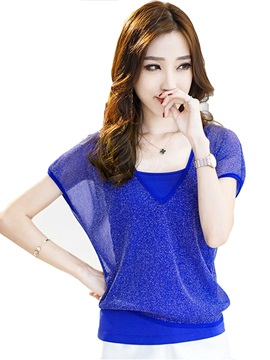 Special Fabric V Neck Short T Shirt