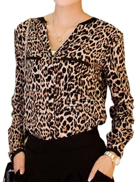 Sexy Collar Leopard Slim Shirt