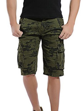 Camouflage Zipper Mens Shorts With Side Pocket