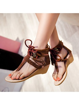 Suede Tassels Back Zip Wedge
