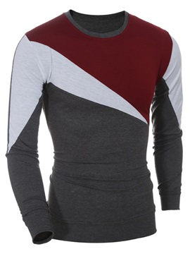 Patchwork Long Sleeve Mens Round Neck T Shirt