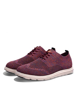 Breathable Round Toe Wingtip Lace Up Casual Shoes