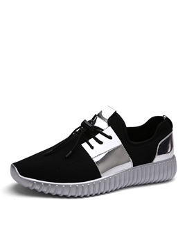 Metallic Mesh Round Toe Lace Up Sneakers