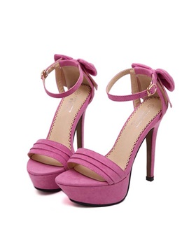 Solid Color Back Bowknots Stiletto Heel Sandals