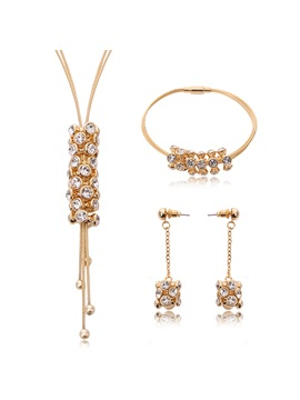 Golden Cylindrical Pendant Women Jewelry Set