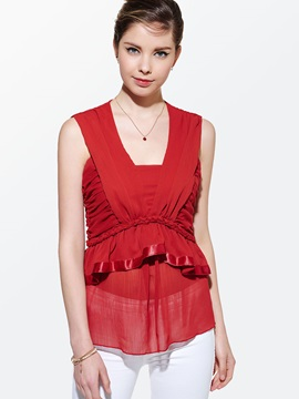 Double Layer See Through Hem Sleeveless Blouse