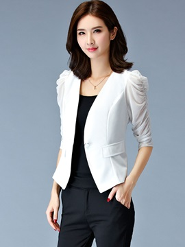 Stylish Puff Sleeves Sim Blazer