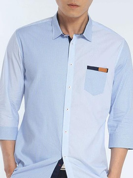 Patchwork Mens Standard Collar Shirt
