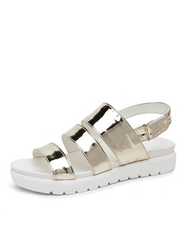 Metallic Open Toe Velcro Flat Sandals