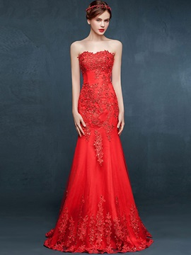 Luxurius Sweetheart Appliques Beading Mermaid Evening Dress