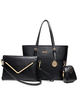 Solid Pure Color Womens Tote Bag Set Three Bags