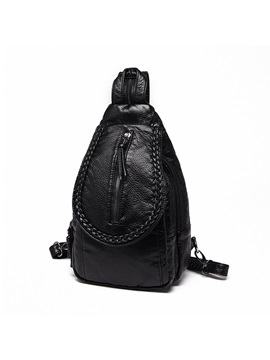 Chic Woven Style Zipper Decorated Womens Backpack