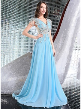 Luxurious V Neck Appliques Beading Long Evening Dress
