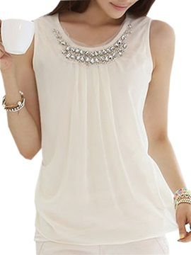 Stylish Bead Collar Lace Tank Top