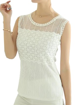 See Through Collar Lace Tank Top