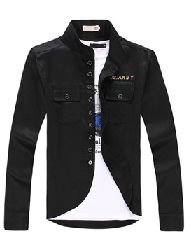 Stand Collar Mens Jacket With Chest Pocket