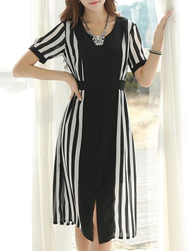 Stripe Patchwork Short Sleeve Day Dress