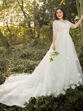 V Neck A Line Half Sleeves Plus Size Wedding Dress