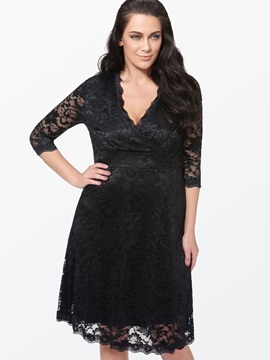 Plain V Neck 3 4 Sleeve Lace Dress