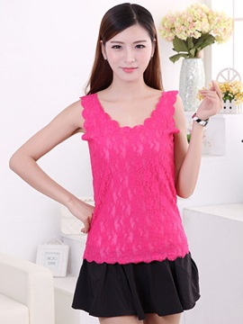 Ladylike Lace Hem Slim Tank Top