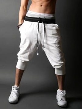Lace Up Waist Mens Solid Color Jogger Pants