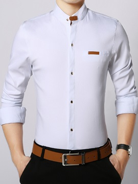 Stand Collar Mock Pocket Mens Slim Fit Shirt