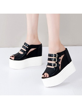 Pu Cut Out Wedge Heel Peep Toe Sandals