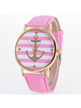 Simple Stripe Anchor Pattern Round Watch