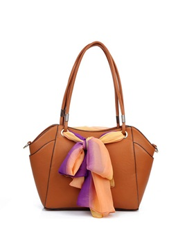 Scarf Decorated Pure Color Womens Tote Bag