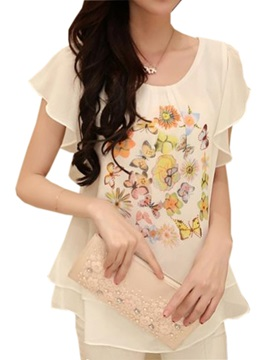 Special Ruffle Sleeves Short Chiffon Blouse