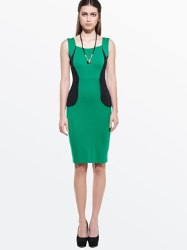 Contrast Color Falbala Sleeveless Bodycon Dress