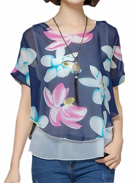 Chic Floral Printed Double Layer Short Blouse
