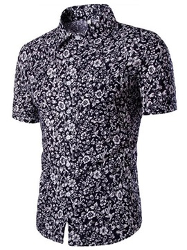 Casual Short Sleeve Mens Floral Shirt