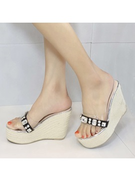 Diamond Open Toe Crochet Wedge Sandals