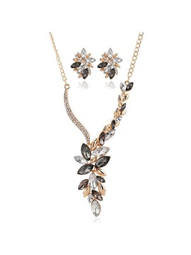 Leaves Rhinestone Asymmetric Women Jewelry Set