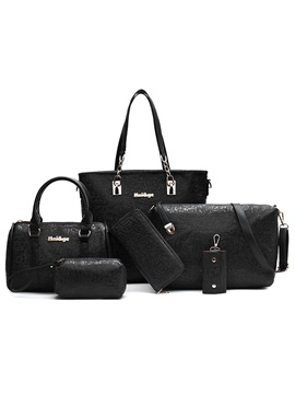 Embossing Pure Color Womens Bag Set Six Bags