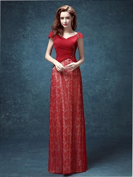 Elegant V Neck Cap Sleeves Sequins Lace Evening Dress