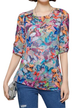 Stylish Floral Printed Half Sleeves Blouse