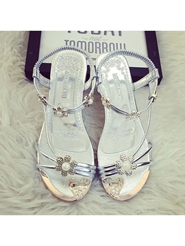 Beaded Open Toe Elastic Band Flat Sandals