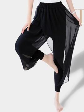Black Chiffon Patchwork Pants
