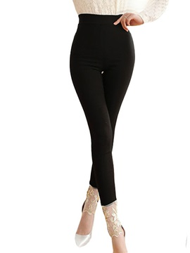 Slim Lace Patchwork Solid Color Womens Leggings