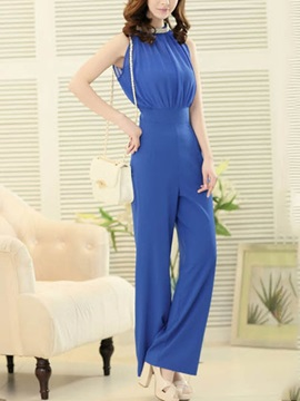 Solid Color Chiffon Jumpsuit