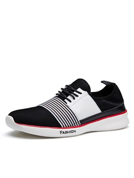 Striped Round Toe Lace Up Sneakers