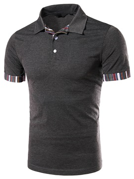 Stripe Patch Slim Fit Mens Casual Polo