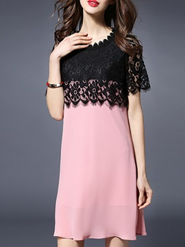Contrast Lace Patchwork Empire Waist Day Dress