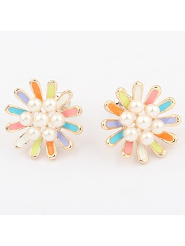 Korean Style Flower Shaped Stud Earrings