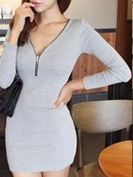 Plain V Neck Long Sleeve Sexy Dress