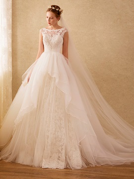 High Quality Bateau Appliques Beaded Ball Gown Lace Wedding Dress